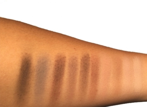 Swatches of the Mad Matte Eyeshadow Palette taken in direct sunlight