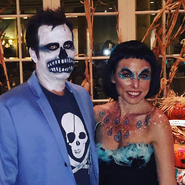 Tonight's clients are my fab friends, Skeletor and Peacock!! #halloweenmakeup #sfmakeupartist #theatricalmakeup