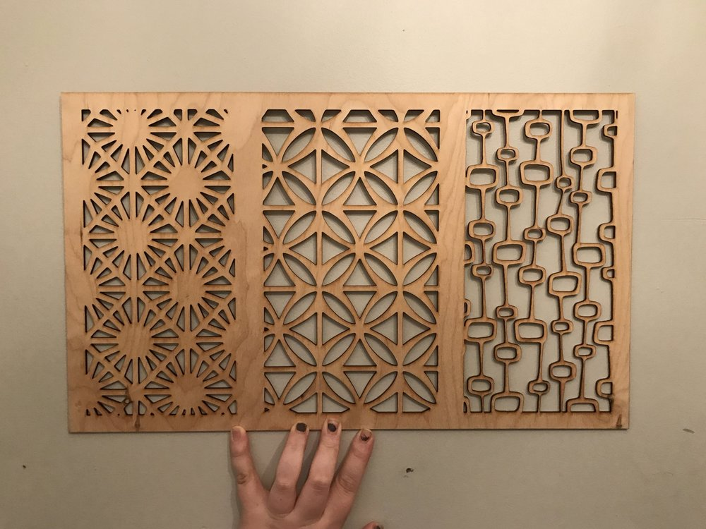 Mid-Century Modern Privacy Screen Sample, 2017; Birch Plywood, Lasercutter; 18x12; Pittsburgh, PA