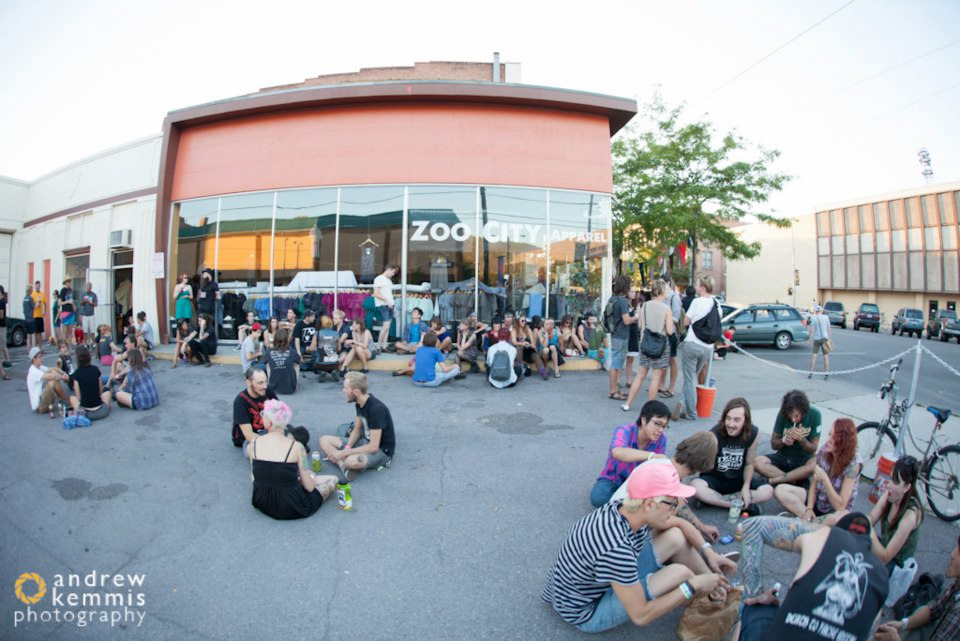 Outside Zoo City Apparel during local music festival Total Fest, 2011; Photo by Andrew Kemmis; Missoula, MT