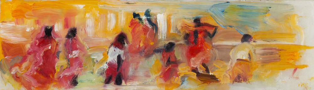 "Medium: Oil Paint on Mylar   Dimensions: 9½""x2"""