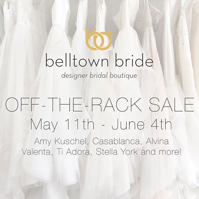 Limited time off the rack sale! Selling a gorgeous variety of designer gowns for up to 70% off! Don't miss the chance to find the dress of your dreams! #offtherack #bridalsale #seattleevents #bridaldesigner #belltownbrideseattle #belltownbride #shesaidyes #seattlephotographer #seattlebride #sale #amykuschel #tiadora #alvinavalenta #casablancabridal #tietheknot #whitedress