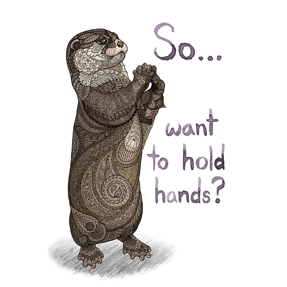 """""""So...want to hold hands? ...I mean, just so we don't accidentally drift apart in our sleep or something. Obviously.""""  Pen, pencil, and watercolor on Bristol board.  Shop prints and products on  Society6  and  Redbubble"""