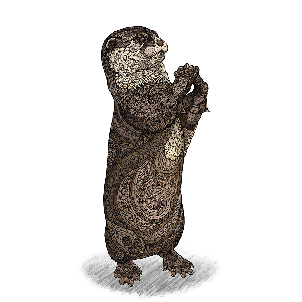 """I could have called this something like """"Otterly Infatuated,"""" but I didn't. I humbly accept your thanks on behalf of the world.  Pen, pencil, and watercolor on Bristol board.   Original available for sale - $125, 8.25"""" x 11.5"""" Shop prints and products on  Society6  and  Redbubble"""
