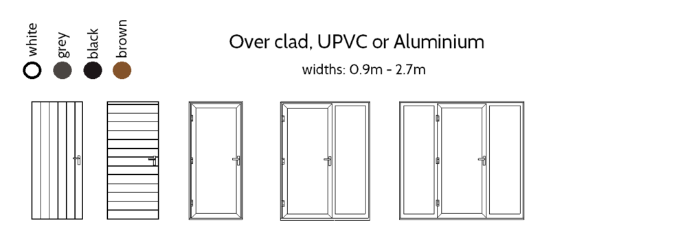 Single Entrance Doors - Over clad, with or without single or double side lights. Over clad doors feature the same cladding material over the external face of the door, good for integrated storage areas.