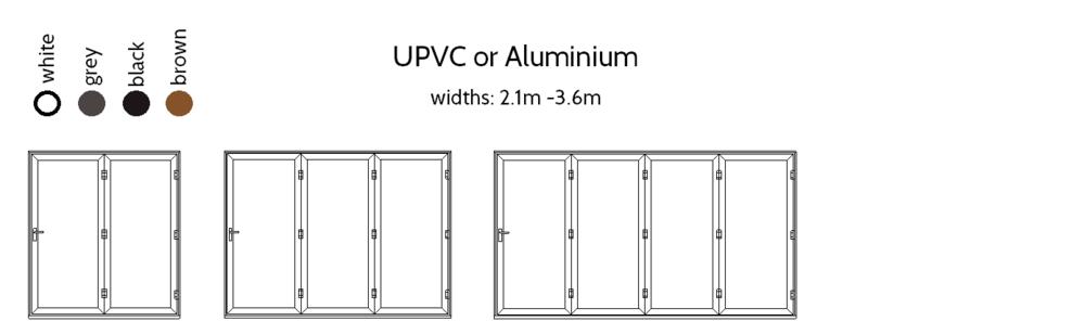 Bi-folding Doors - 2,3 and 4 pane options.
