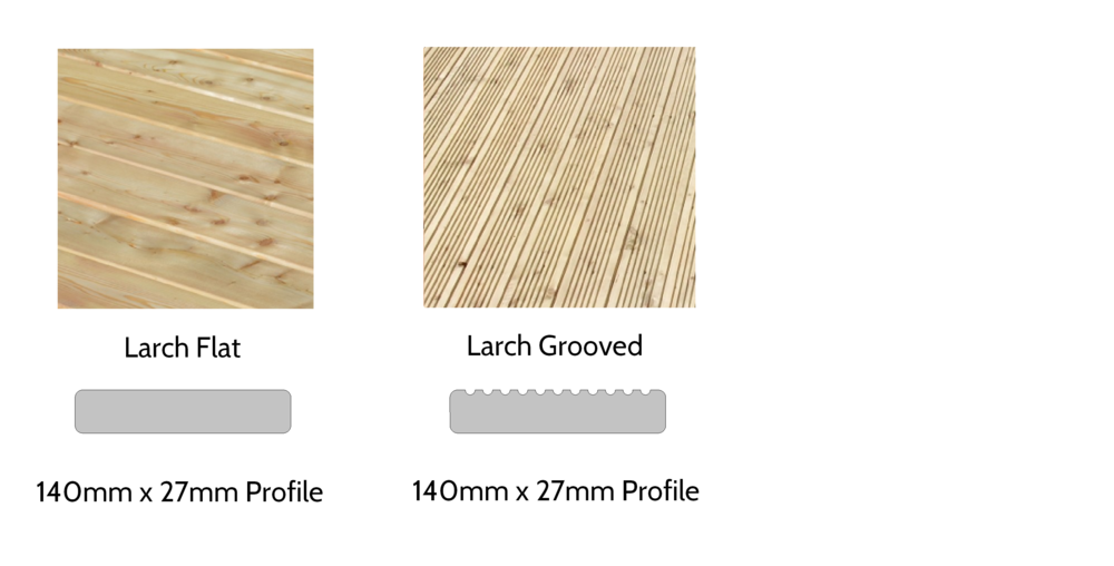 Larch Decking - Available as a flat profile with an anti-slip treatment, or with a grooved profile to provide traction in wet conditions.  Matches perfectly to larch clad garden rooms and with a very long life expectancy due to the natural properties of larch.