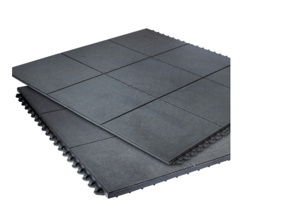 Rubber Flooring - Black 16mm heavy duty anti-slip rubber floor tiles.  With high impact absorption and antifatigue properties, this is the ideal flooring for garden room gym use.  Installed as either a floor covering throughout your new garden room, or fitted to cover a smaller dedicated workout area.  Complete with white bullnose skirting throughout.
