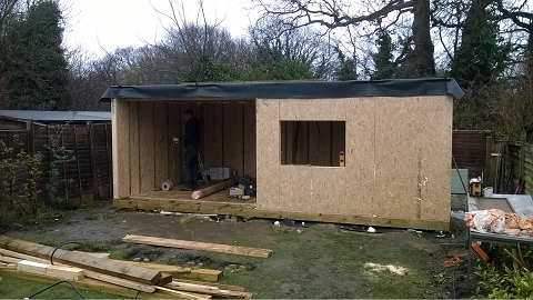 Day 4 - The roof structure is completed and the 1st fix wiring is started  -
