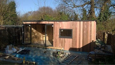 Day 7 - The exterior vertical cedar cladding is completed  -