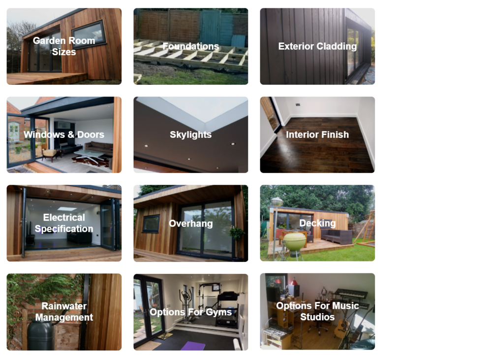 Design Options - Read about our extensive list of available design options, allowing you to chose the element for your garden room that are important to you.