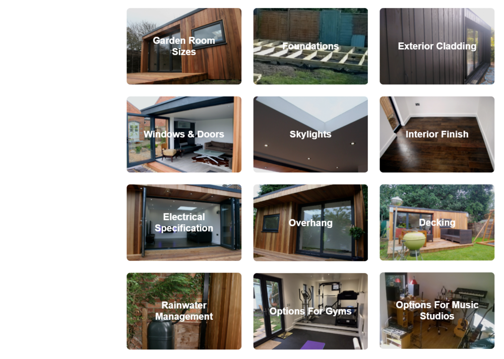 Design Options Guide - In our design options guide shows what we can offer and provides you with the information required to make informed decisions for your new garden room.