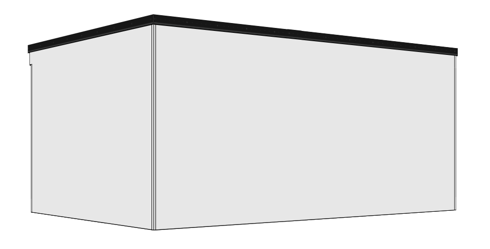 Cube - Windows and door can be positioned on any face, or a corner aspect door and window. Externally with or without a full length front overhang.