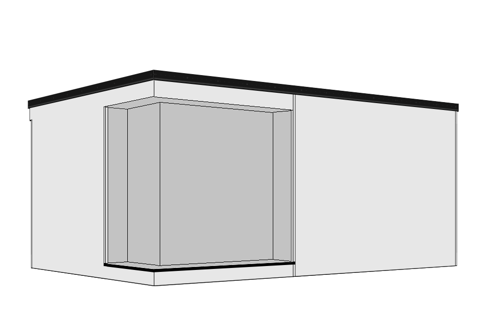 Recessed Door & Corner Window - A 300mm recessed overhang is created to the front aspect, together with a decked step running part way across the building. Entrance doors from 0.9m to 4.2m are available to fit into the recess with the addition of a recessed corner aspect window. Available as right or left hand versions.