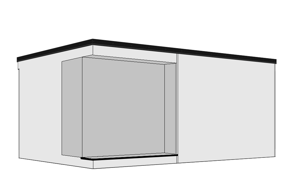 Recessed Door + Corner Window - A 300mm recessed overhang is created to the front aspect, together with a decked step running part way across the building. Entrance doors from 0.9m to 4.2m are available to fit into the recess with the addition of a corner aspect window. Available as right or left hand versions.