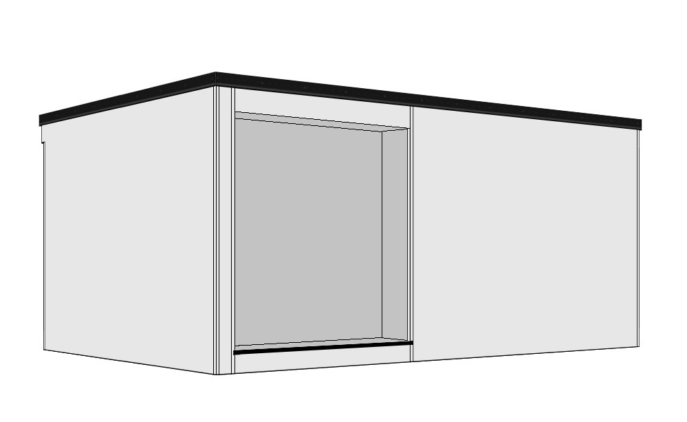 Recessed Door - A 300mm recessed overhang is created to the front aspect, together with a decked step running part way across the building. Entrance doors from 0.9m to 4.2m are available to fit into the recess. Available as right or left hand versions.