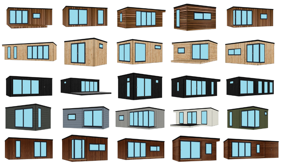 A small selection of what we can offer - Priced example designs featuring different cladding materials, window and door configurations, layouts and design options.