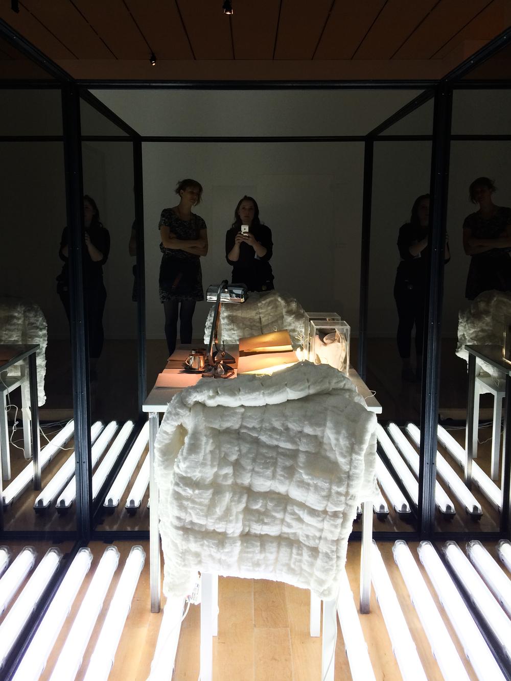 Laura Lamiel,Deux cellules, création Biennale 2015.Installation in two parts: iron structure, mirrors, enamelled, steel, various elements,170 x 170 x 200 cm each.Courtesy Marcelle Alix, Paris.