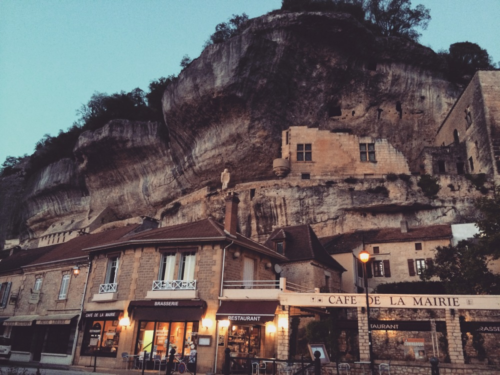 The village of Les Eyzies, built into the overhang cliffs. This was the home base for a special trip to the Dordogne region to see cave paintings.