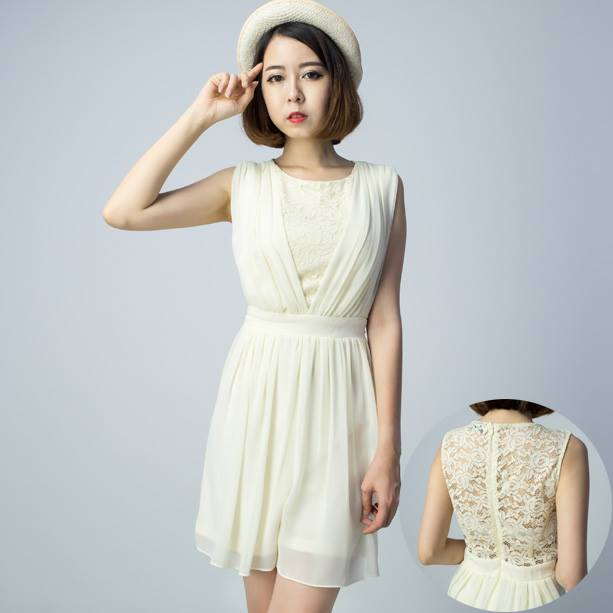 Chiffon Pleats with Lace Playsuit - Cream