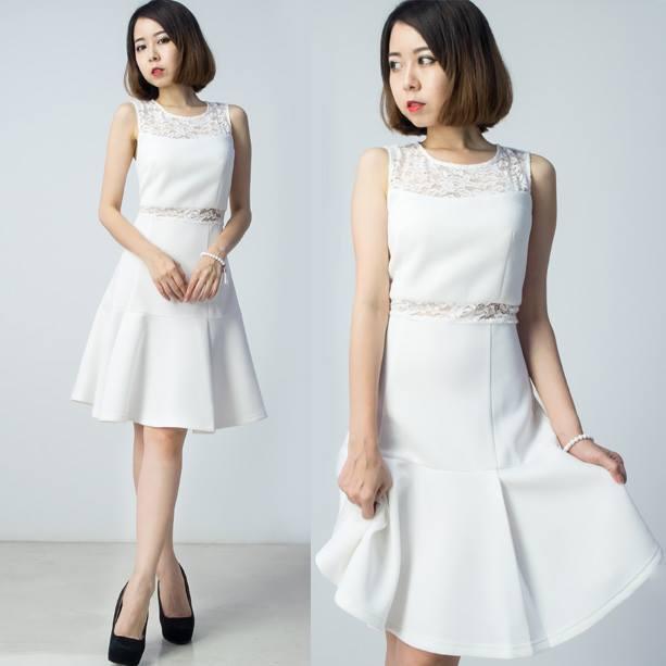 Premium Neoprene Lace Dress - White