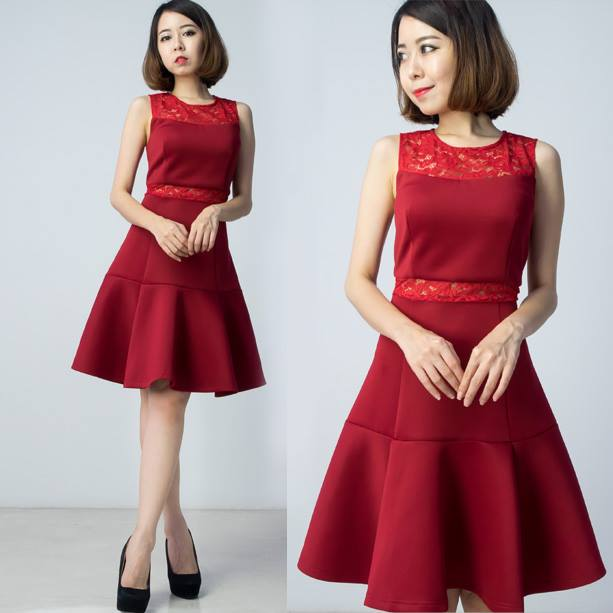 Premium Neoprene Lace Dress - Red