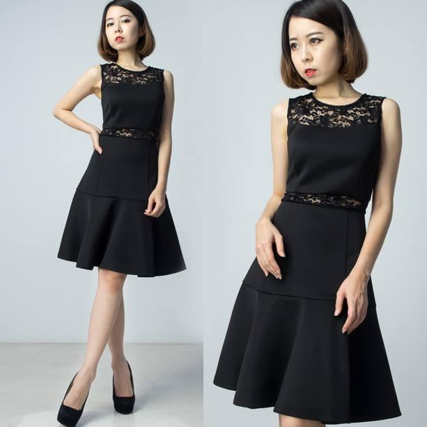 Premium Neoprene Lace Dress - Black
