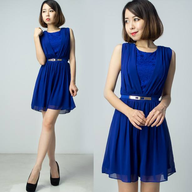 Chiffon Pleats with Lace Playsuit - Blue