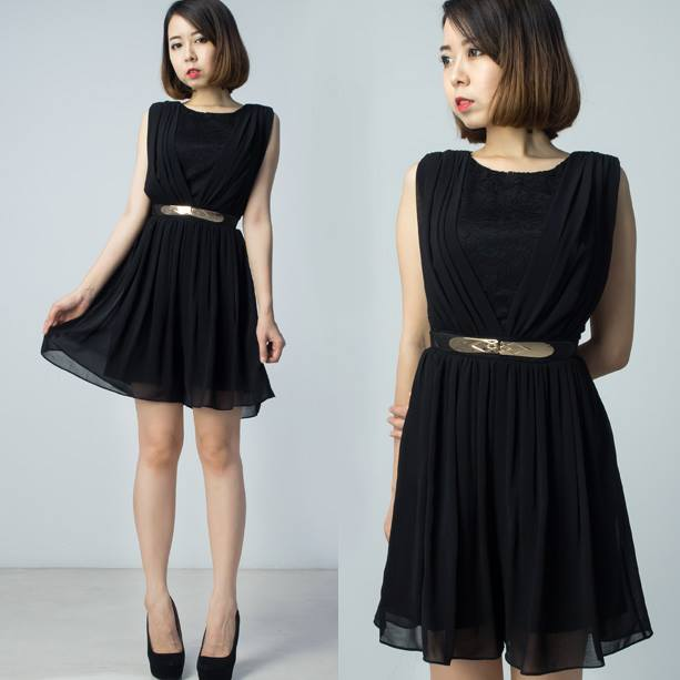 Chiffon Pleats with Lace Playsuit - Black