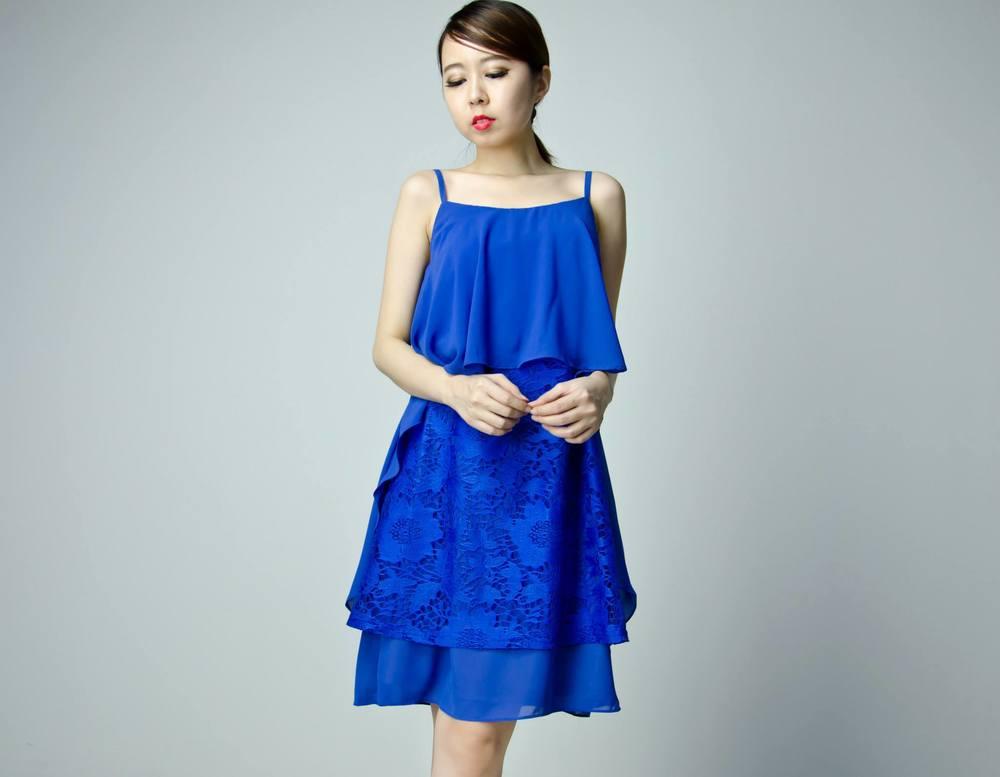 Premium Chiffon Lace Dress - Blue