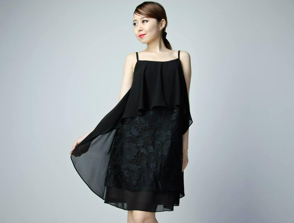 Premium Chiffon Lace Dress - Black