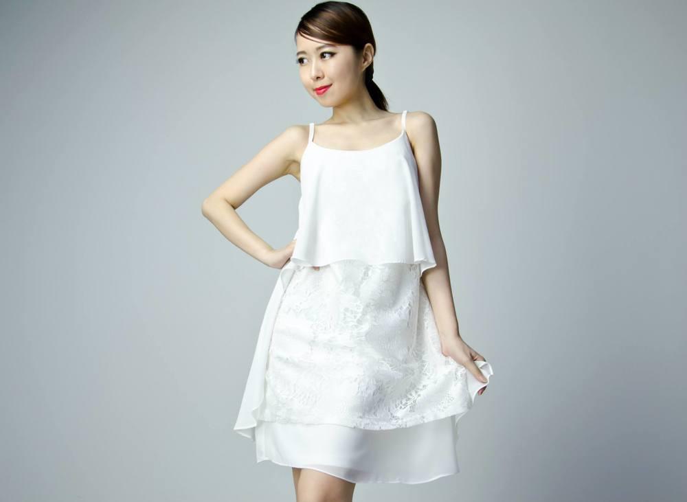 Premium Chiffon Lace Dress - White