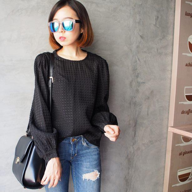 Textured Panel Blouse - Black