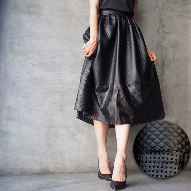 Jacquard Leather Midi Skirt (Textured Dots)
