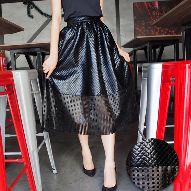 Jacquard Leather Midi Skirt (Textured Square)