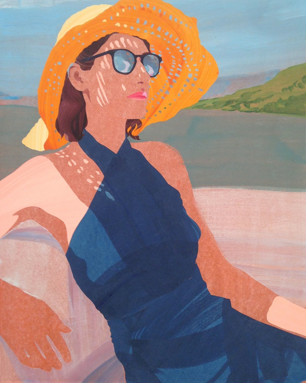 Sebastian Blanck ,  Isca in Her Sun Hat  (2015). 16 x 20 inches. Watercolor and collage on stretched paper.
