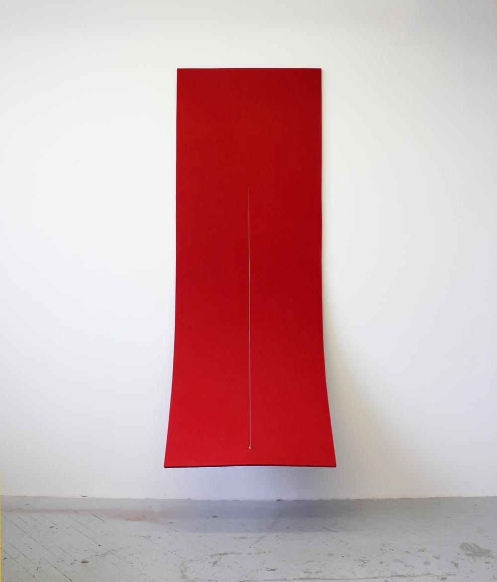 Naama Tsabar ,  Work on Felt (Variation 6)   (2015). 97.63 x 34.87 x .56 inches. Felt, carbon fiber, epoxy, archival PVA, bass guitar tuner, piano string.( Photo : Naama Tsabar  )