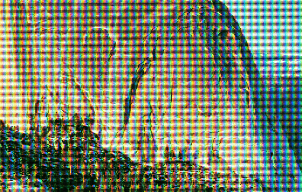 Detail:  Half Dome as Viewed from Glacier Point, Yosemite National Park. Original Photo by DAVID ILIFF; Creative Commons License CC-BY-SA 3.0    (from    eScapes    series), 2015. 30.4 x 48 inches. Pigment print.