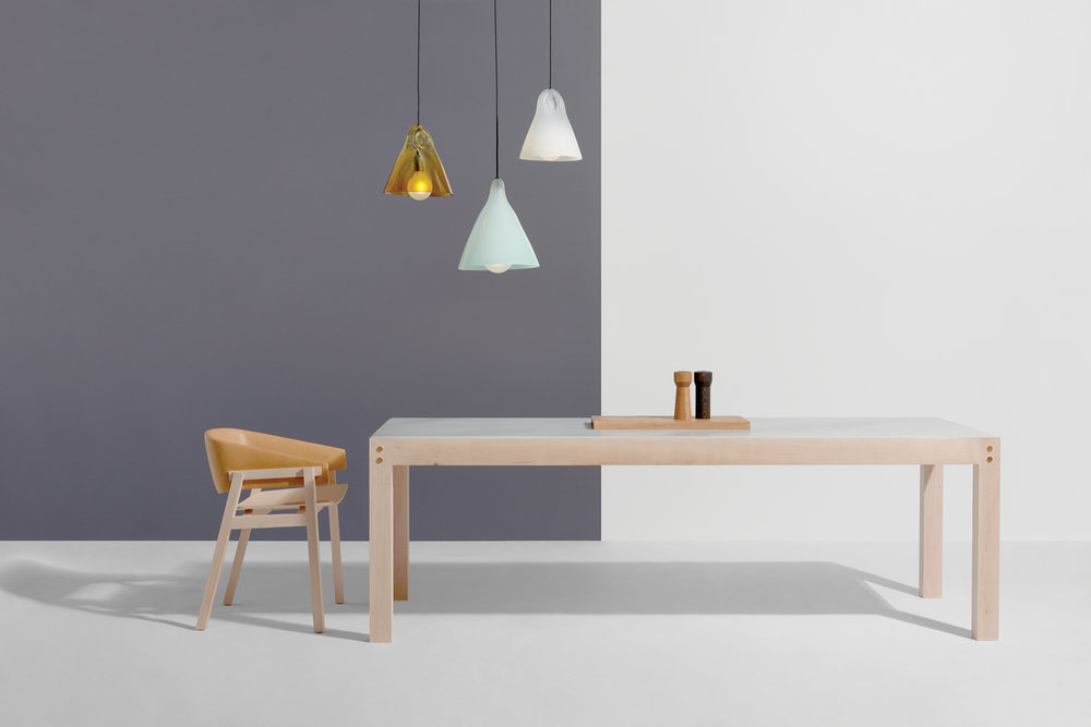 Jam Factory furniture collection: CUSP Dining Chair by Rhys Cooper, BLOCK Dining Table by Daniel Emma and KC Pendant Lights (small and large) by Karen Cunningham.