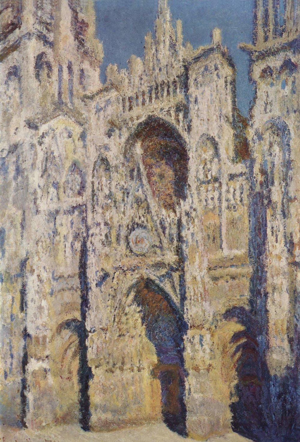 La  Cattedrale di Rouen in pieno sole , dal  Ciclo della Cattedrale di Rouen  di Claude Monet. In più di trenta dipinti che la ritraggono in momenti diversi durante il giorno, Monet reinterpreta un'opera d'arte preesistente (la Cattedrale), ponendo l'accento sul ruolo che ha la luce sulla sua facciata nelle diverse fasi del giorno.