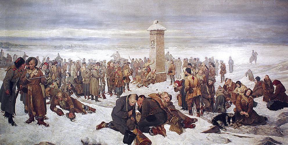 I condannati in viaggio verso i lavori forzati in una colonia penale in Siberia fanno una sosta presso l'obelisco che segna il confine fra l'Europa e l'Asia. Quandro di Aleksander Sochaczewski.