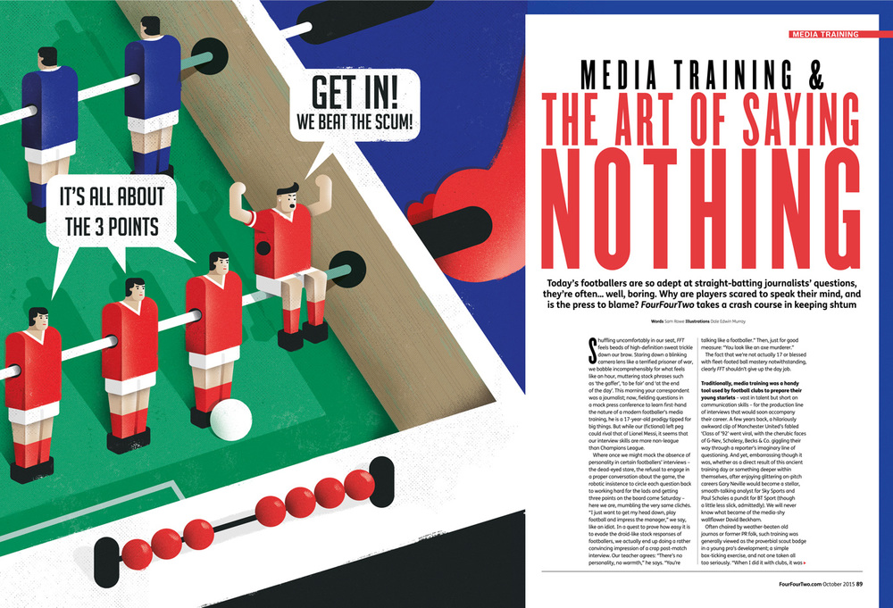 Freelance illustrator dale edwin murray conceptual editorial four four two magazine illustration