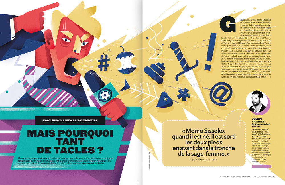 freelance illustrator dale edwin murray gq magazine editorial football illustration