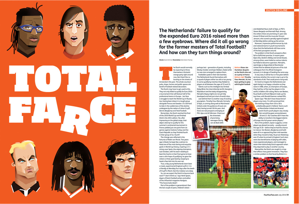 freelance illustrator dale edwin murray four four two magazine football editorial illustration