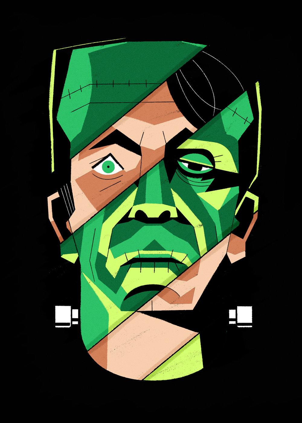 dale edwin murray freelance illustrator adobe inktober halloween frankenstein editorial conceptual illustration