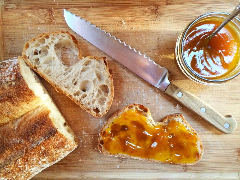 Pumpkin jam, butter and sourdough toast.