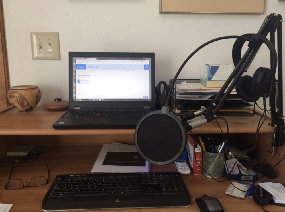 Chris' podcasting setup.