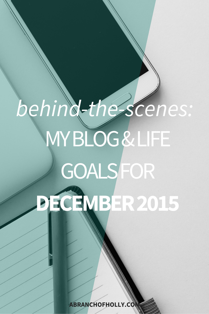 Behind-the-Scenes: My Blog & Life Goals for December 2015