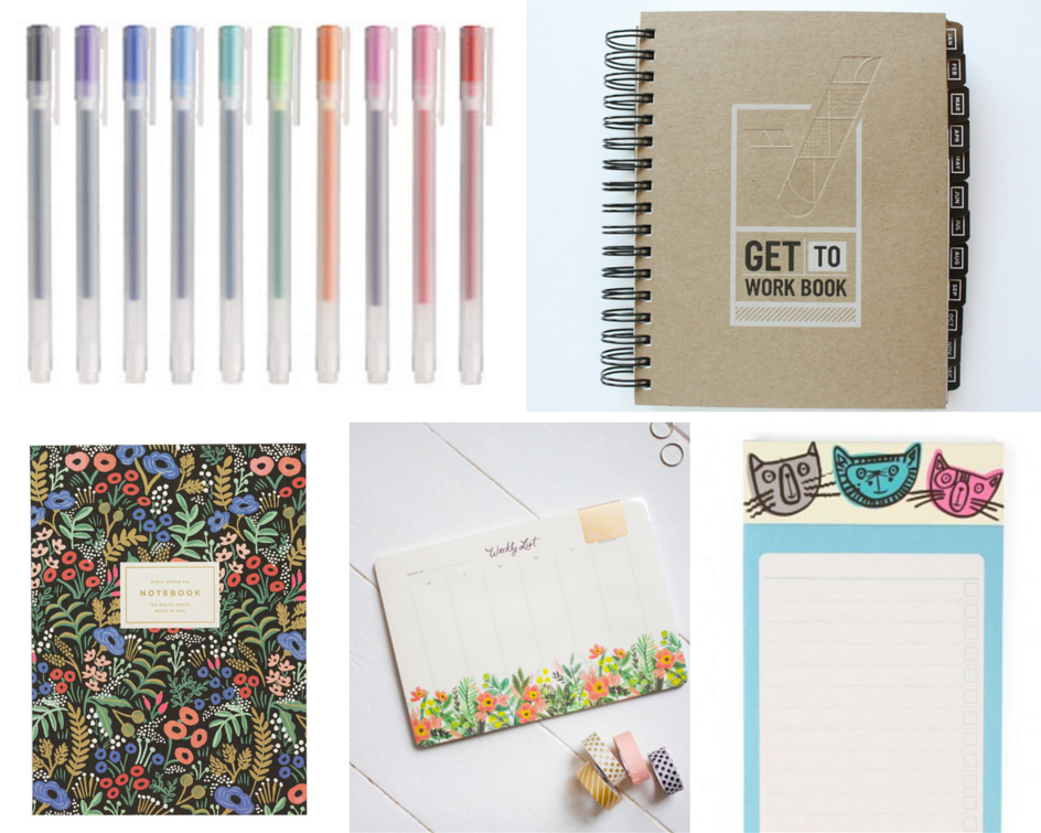Muji Pens,   Get to Work Book,   Rifle Paper Co Notebook,   Novelle Daily Desk Planner,   Paperchase To-Do List