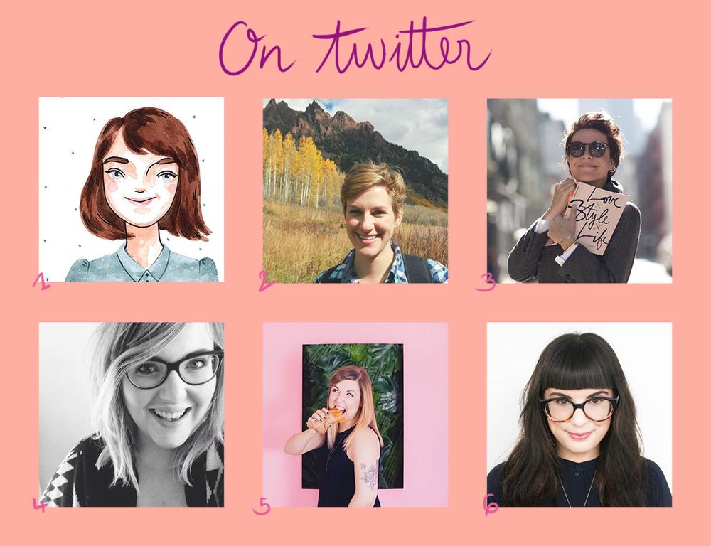 1:   Stephanie   // 2:   Erin E Flynn   // 3:   Garance Doré   // 4:   Kercia Jane   // 5:   Laura Bee   // 6:   Sophie